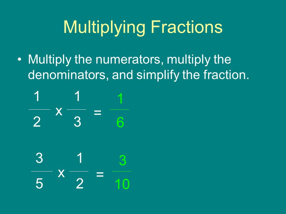 Multiplying Fractions Multiply the numerators, multiply the denominators, and simplify the fraction.