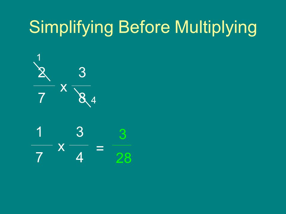 Simplifying Before Multiplying 3 8 2 7 x 1 4 3 4 = 1 7 x 28 3