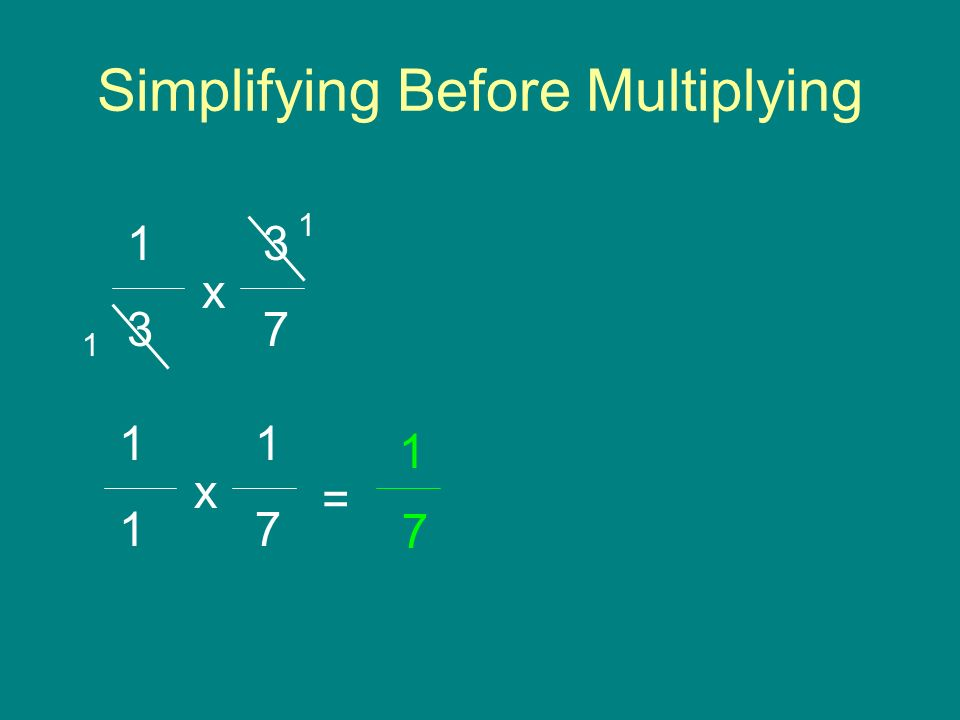 Simplifying Before Multiplying 3 7 1 3 x 1 1 1 7 = 1 x 7 1