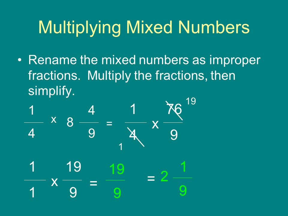 Multiplying Mixed Numbers Rename the mixed numbers as improper fractions.