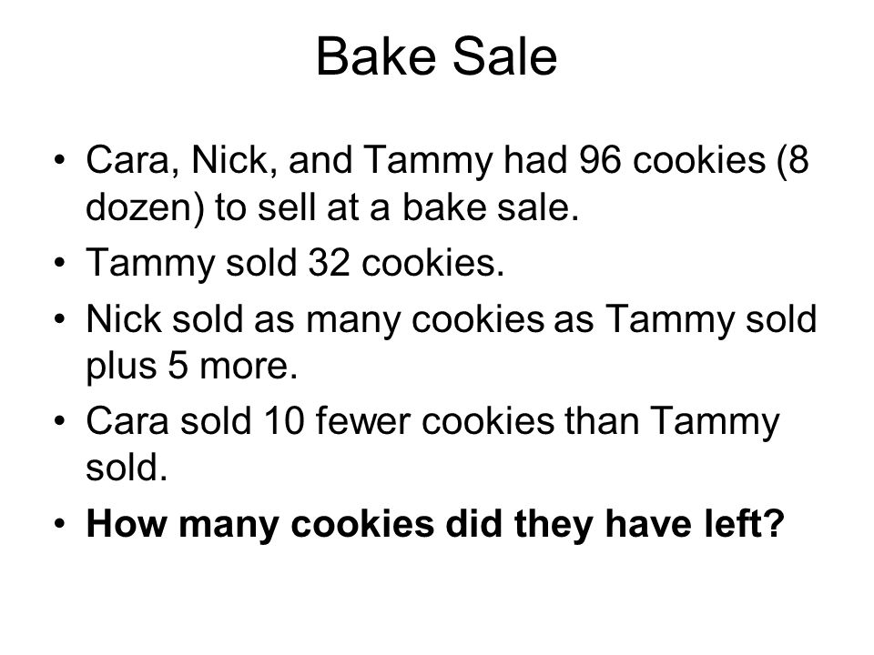 Bake Sale Cara, Nick, and Tammy had 96 cookies (8 dozen) to sell at a bake sale.