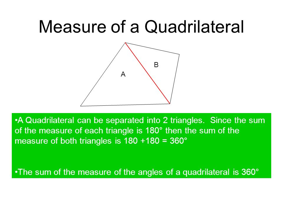 Measure of a Quadrilateral A B A Quadrilateral can be separated into 2 triangles.