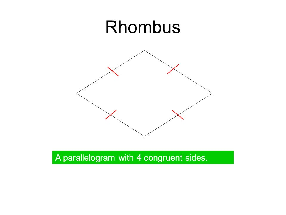 Square A parallelogram with 4 right angles and 4 congruent sides.