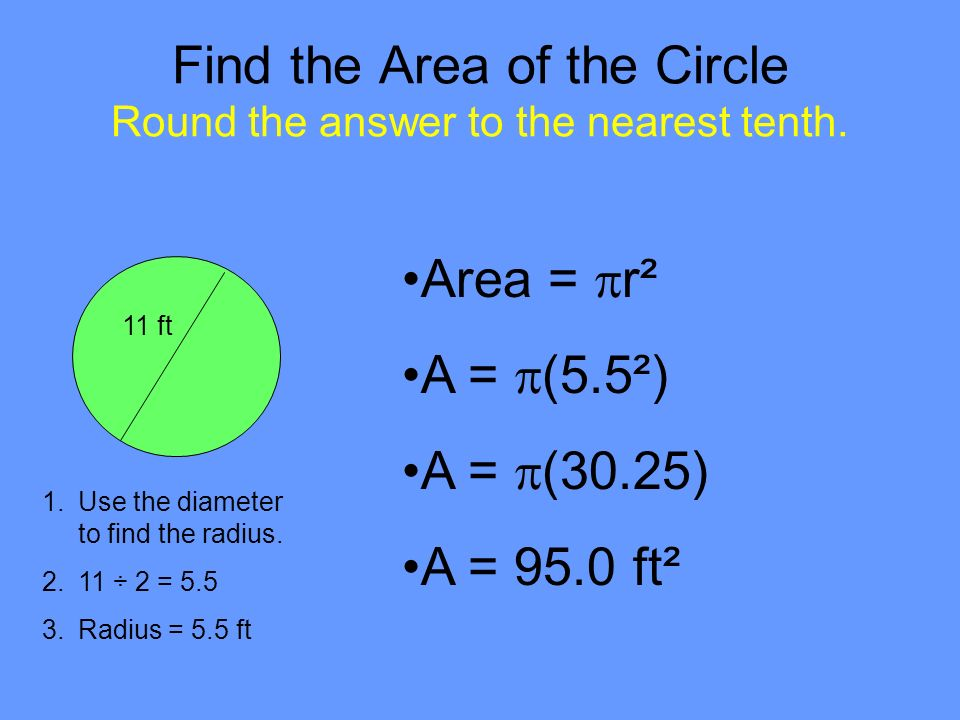 Find the Area of the Circle Round the answer to the nearest tenth.