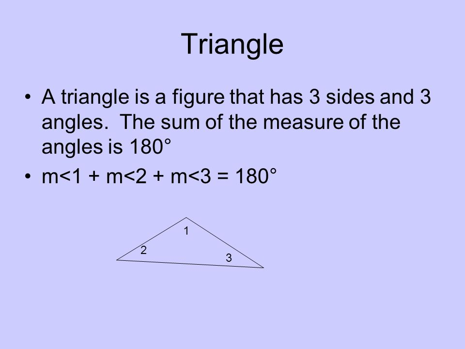 Triangle A triangle is a figure that has 3 sides and 3 angles. The sum of the measure of the angles is 180° m<1 + m<2 + m<3 = 180° 1 2 3