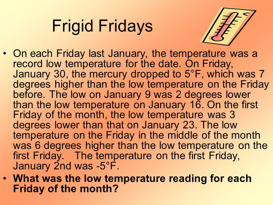 Frigid Fridays On each Friday last January, the temperature was a record low temperature for the date. On Friday, January 30, the mercury dropped to 5