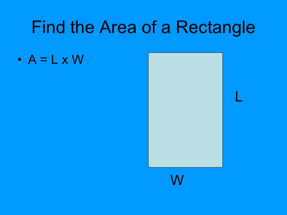 Find the Area of a Rectangle A = L x W L W