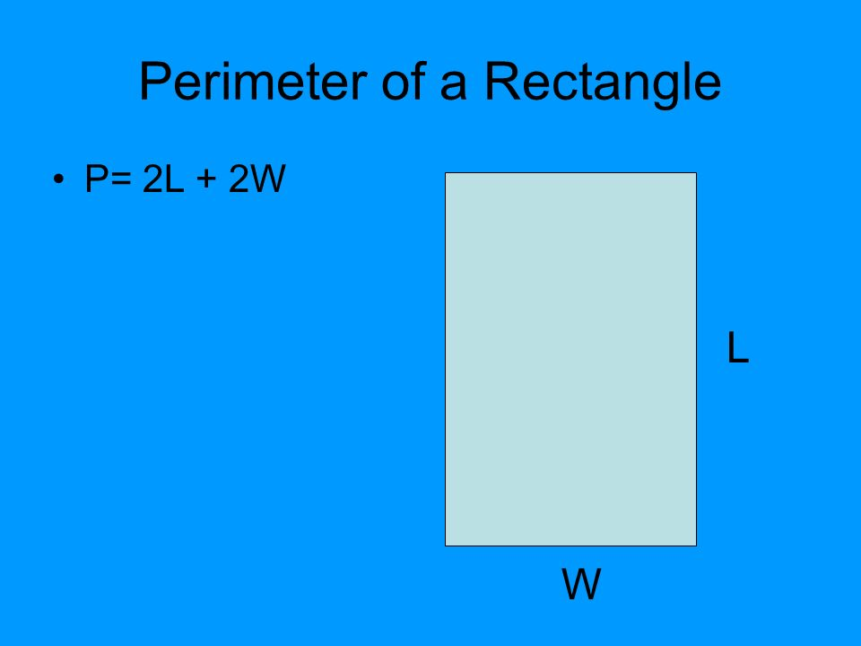 Perimeter of a Rectangle P= 2L + 2W L W
