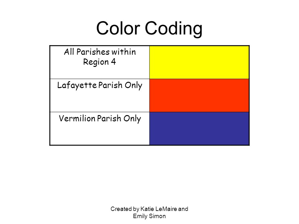 Created by Katie LeMaire and Emily Simon Color Coding All Parishes within Region 4 Lafayette Parish Only Vermilion Parish Only