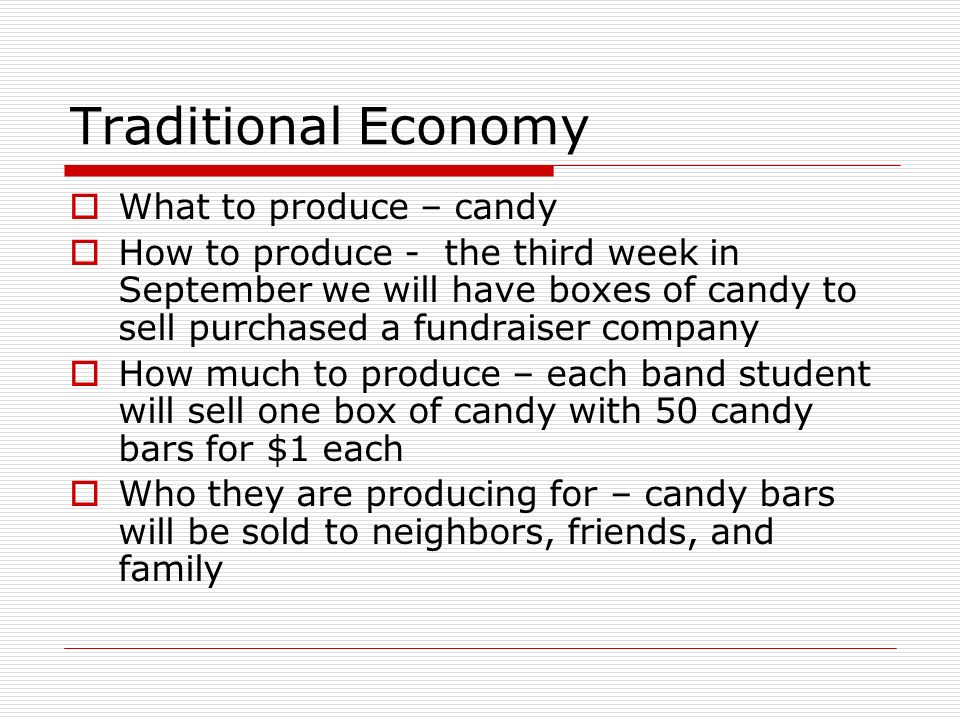 Traditional Economy What to produce – candy How to produce - the third week in September we will have boxes of candy to sell purchased a fundraiser co