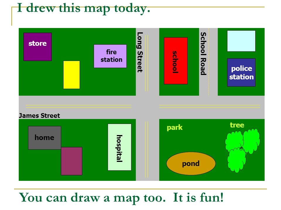 First I drew the streets in my neighborhood.James Street and Long Street cross each other.