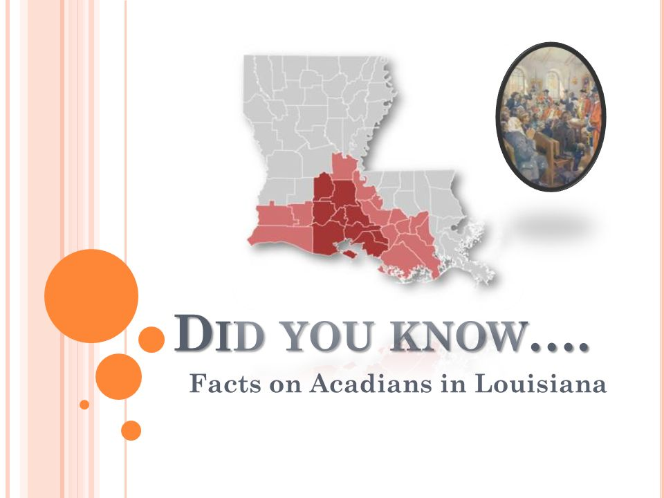 D ID YOU KNOW …. Facts on Acadians in Louisiana