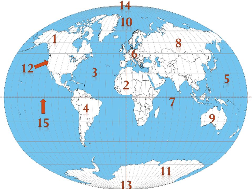 Use the words below to label the map Africa Australia Antarctica North America South America Europe Asia Prime Meridian North Pole South Pole Pacific Ocean Atlantic Ocean Arctic Ocean Indian Ocean Equator United States
