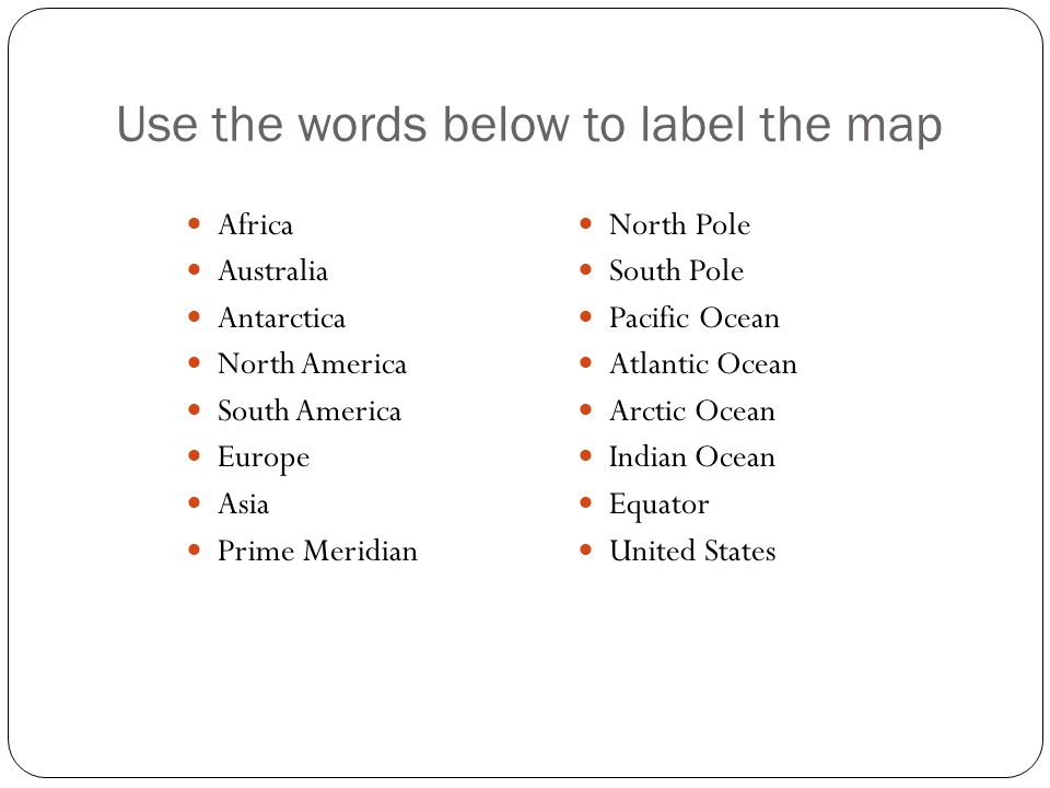 Use the words below to label the map Africa Australia Antarctica North America South America Europe Asia Prime Meridian North Pole South Pole Pacific