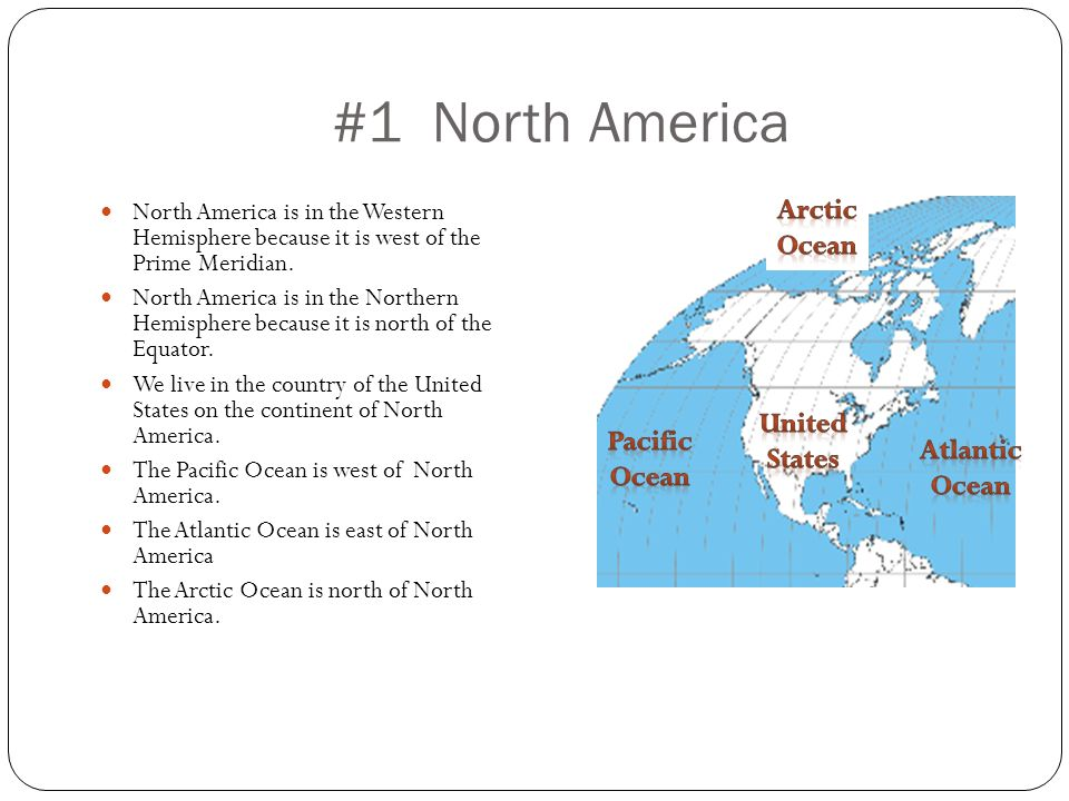 #1 North America North America is in the Western Hemisphere because it is west of the Prime Meridian. North America is in the Northern Hemisphere beca