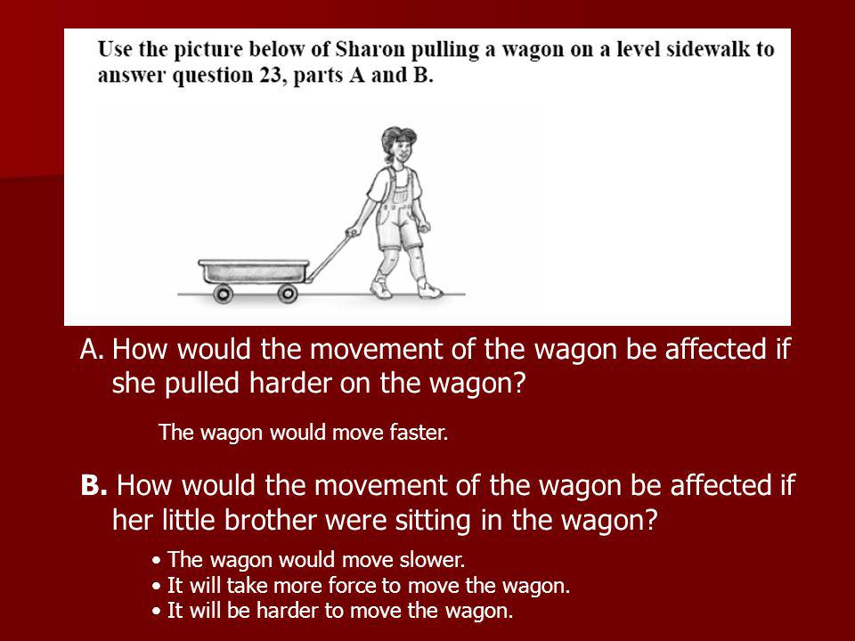 A.How would the movement of the wagon be affected if she pulled harder on the wagon.