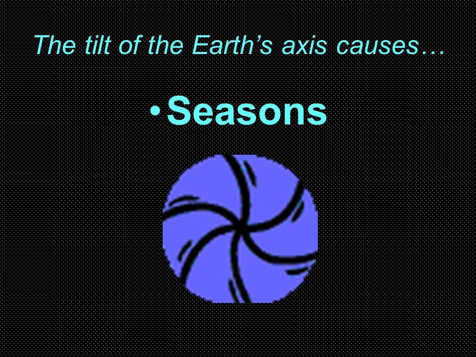 The tilt of the Earths axis causes… Seasons