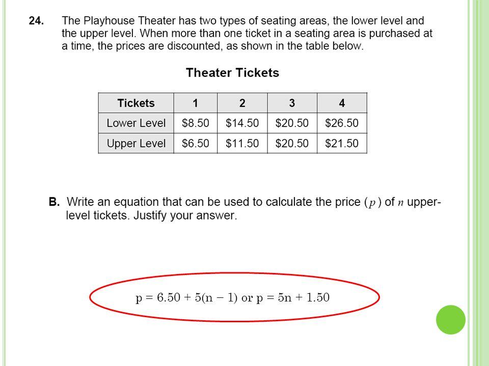 p = 6.50 + 5(n 1) or p = 5n + 1.50