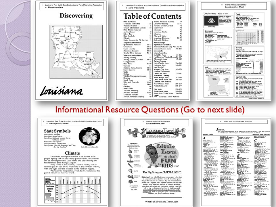 Informational Resource Questions (Go to next slide)