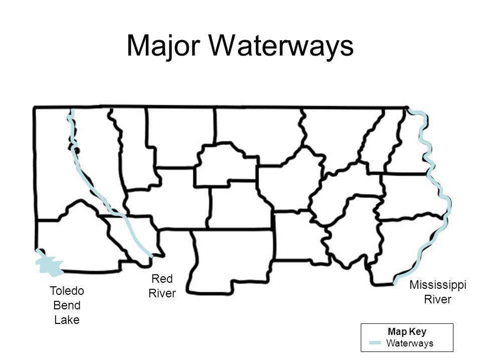 Major Waterways Mississippi River Red River Toledo Bend Lake Map Key Waterways