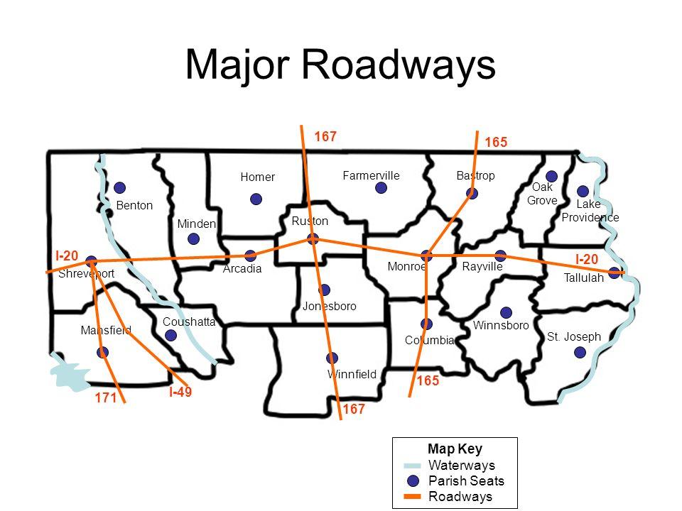 Major Roadways Map Key Waterways Parish Seats Roadways Shreveport Benton Minden Arcadia Homer Mansfield Coushatta Jonesboro Ruston Winnfield Monroe Fa