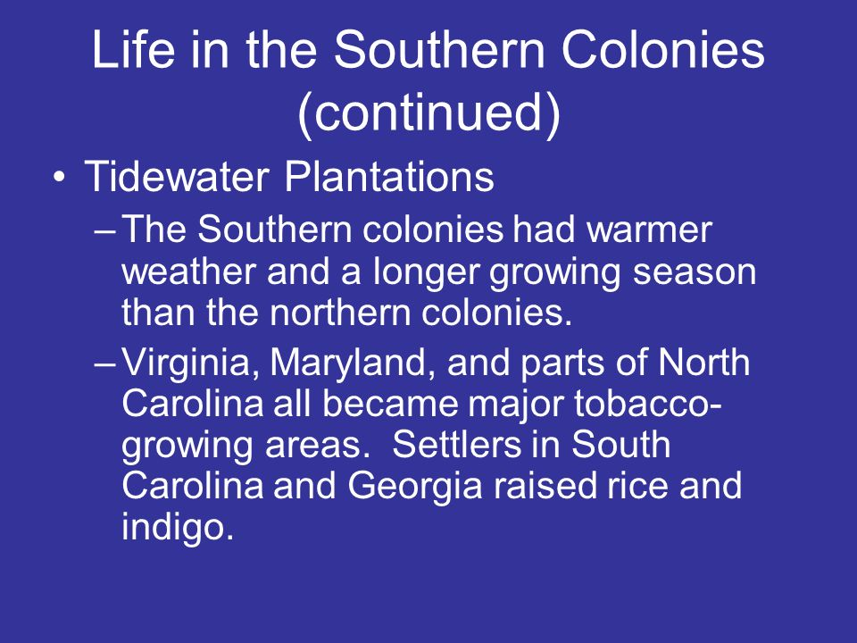 Life in the Southern Colonies (continued) Tidewater Plantations –The Southern colonies had warmer weather and a longer growing season than the norther