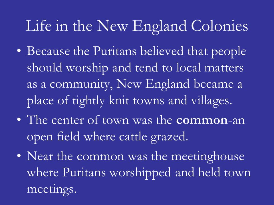 Life in the New England Colonies Because the Puritans believed that people should worship and tend to local matters as a community, New England became