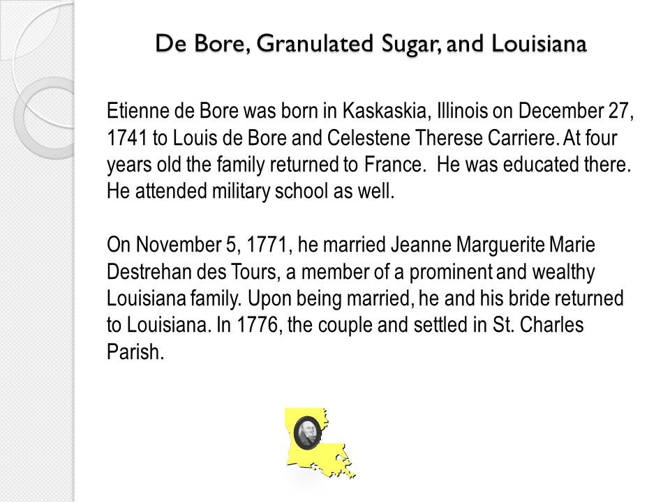 De Bore, Granulated Sugar, and Louisiana Etienne de Bore was born in Kaskaskia, Illinois on December 27, 1741 to Louis de Bore and Celestene Therese Carriere.