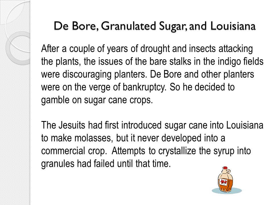 De Bore, Granulated Sugar, and Louisiana After a couple of years of drought and insects attacking the plants, the issues of the bare stalks in the ind