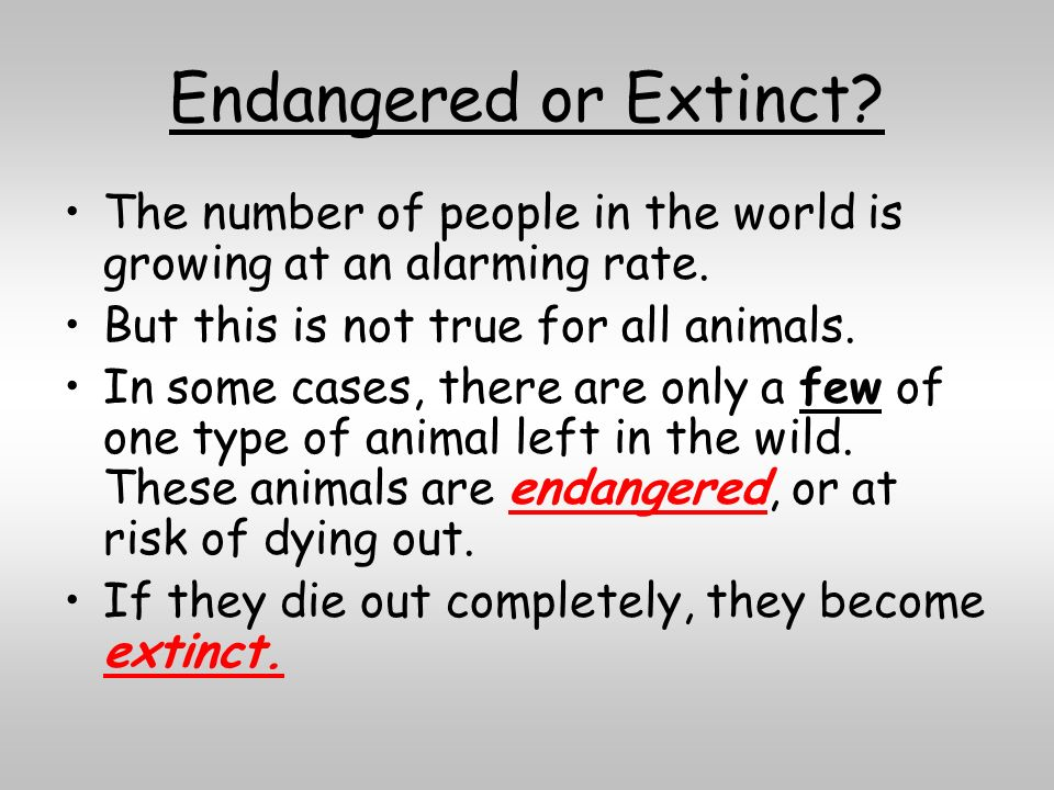 Endangered or Extinct? The number of people in the world is growing at an alarming rate. But this is not true for all animals. In some cases, there ar