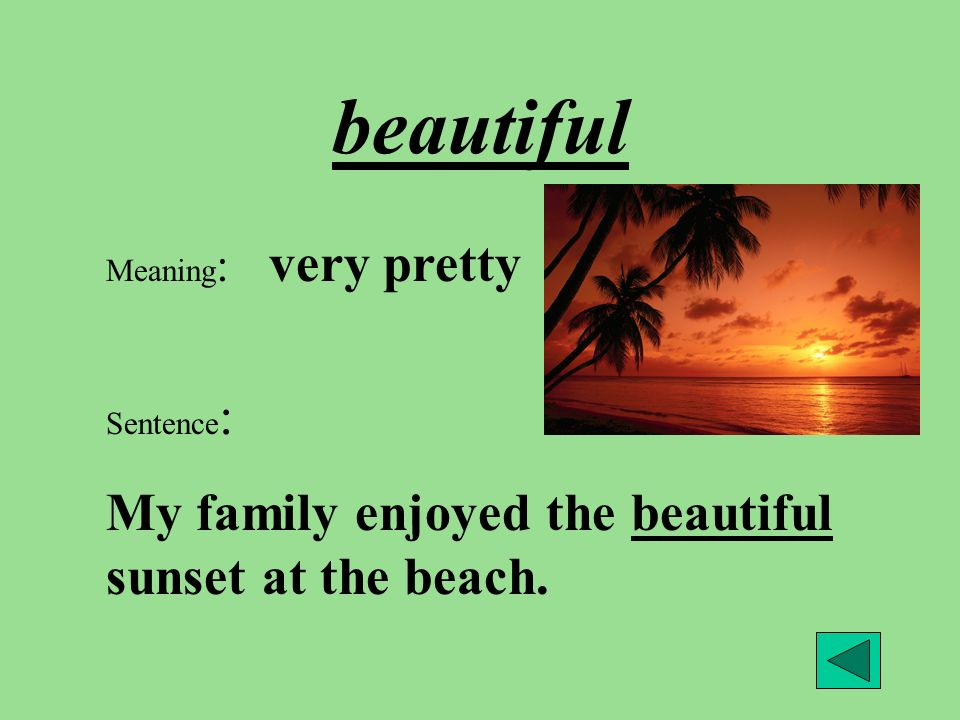beautiful Meaning : very pretty Sentence : My family enjoyed the beautiful sunset at the beach.