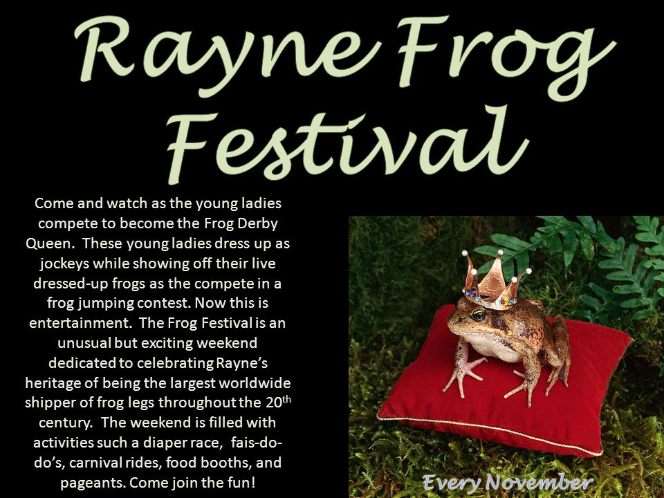 Come and watch as the young ladies compete to become the Frog Derby Queen. These young ladies dress up as jockeys while showing off their live dressed