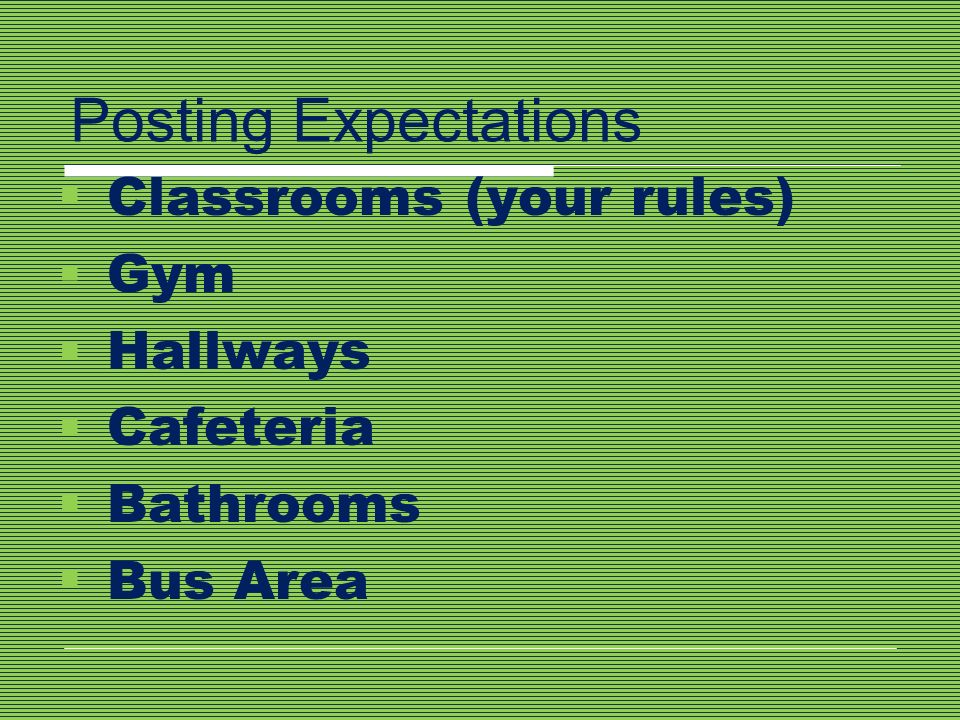 Posting Expectations Classrooms (your rules) Gym Hallways Cafeteria Bathrooms Bus Area