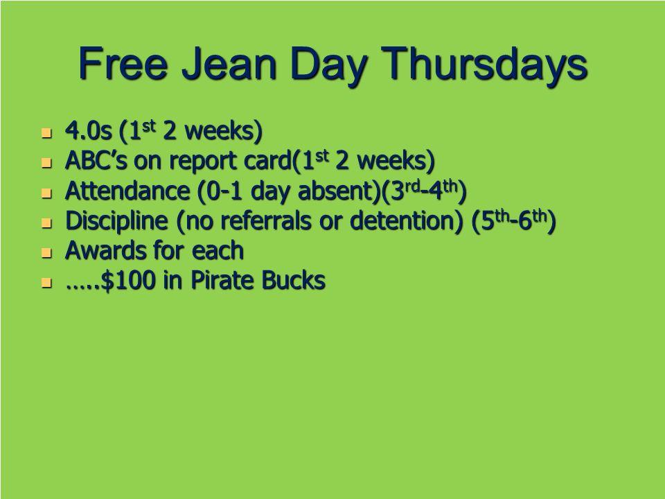 Free Jean Day Thursdays 4.0s (1 st 2 weeks) 4.0s (1 st 2 weeks) ABCs on report card(1 st 2 weeks) ABCs on report card(1 st 2 weeks) Attendance (0-1 da