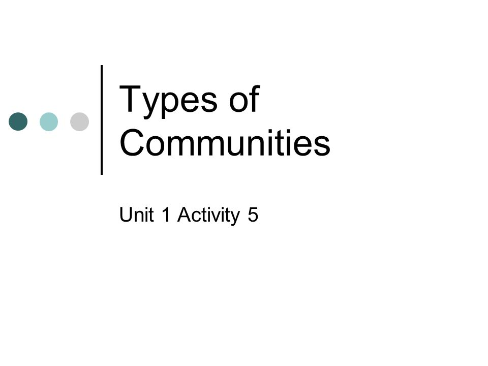 Types of Communities Unit 1 Activity 5