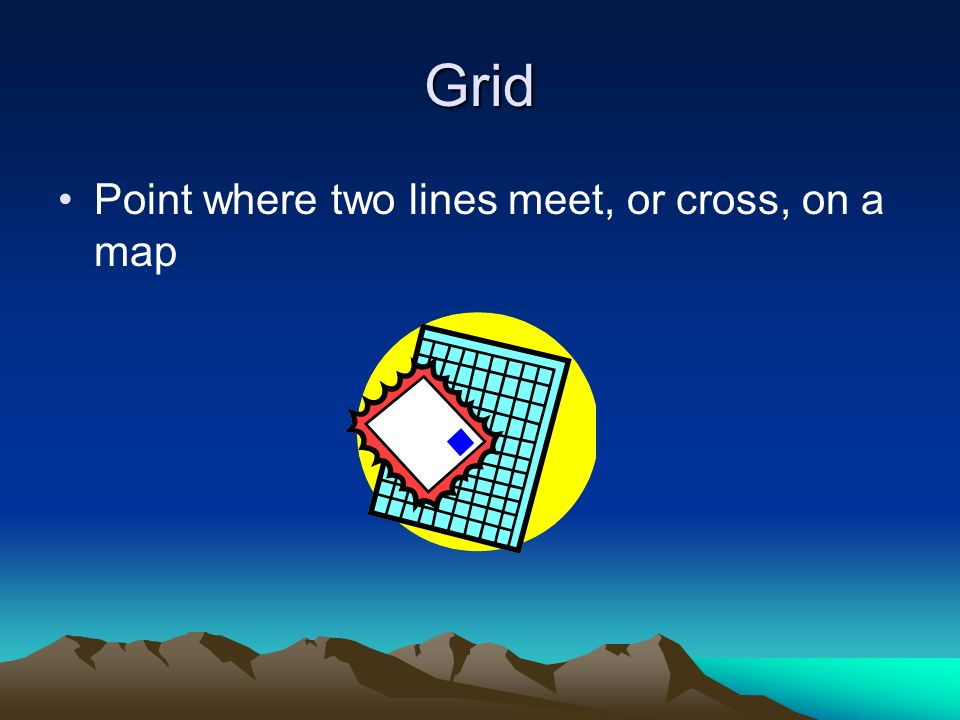 Grid Point where two lines meet, or cross, on a map