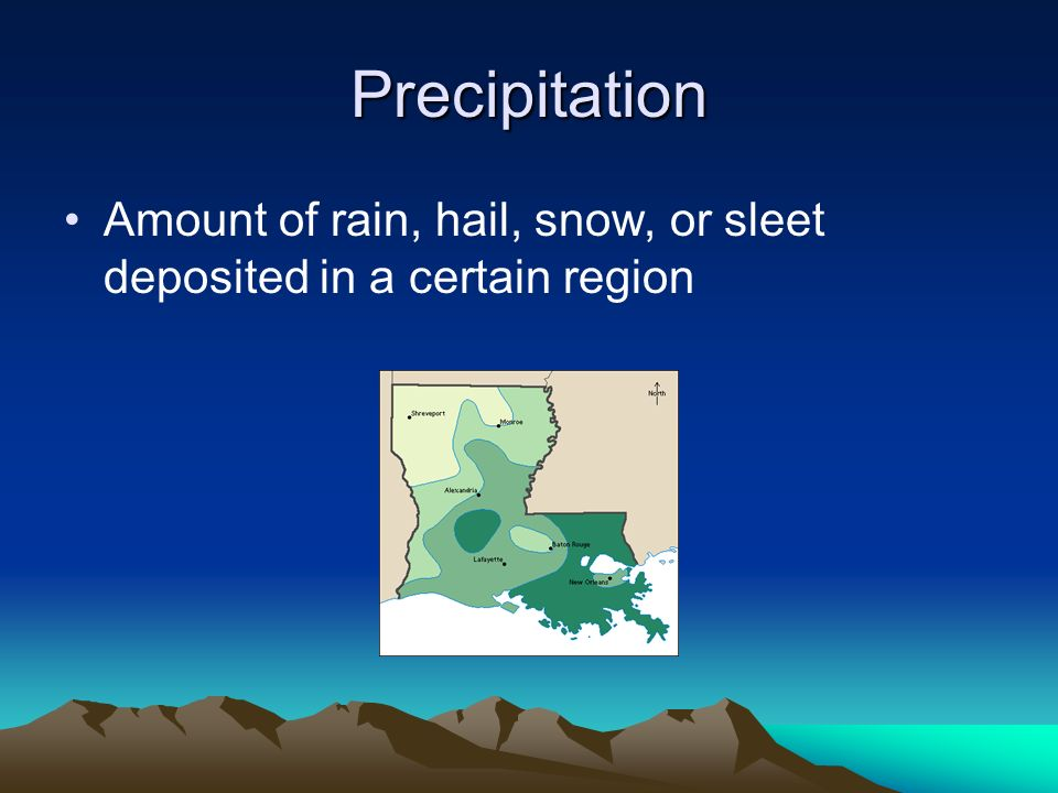 Precipitation Amount of rain, hail, snow, or sleet deposited in a certain region