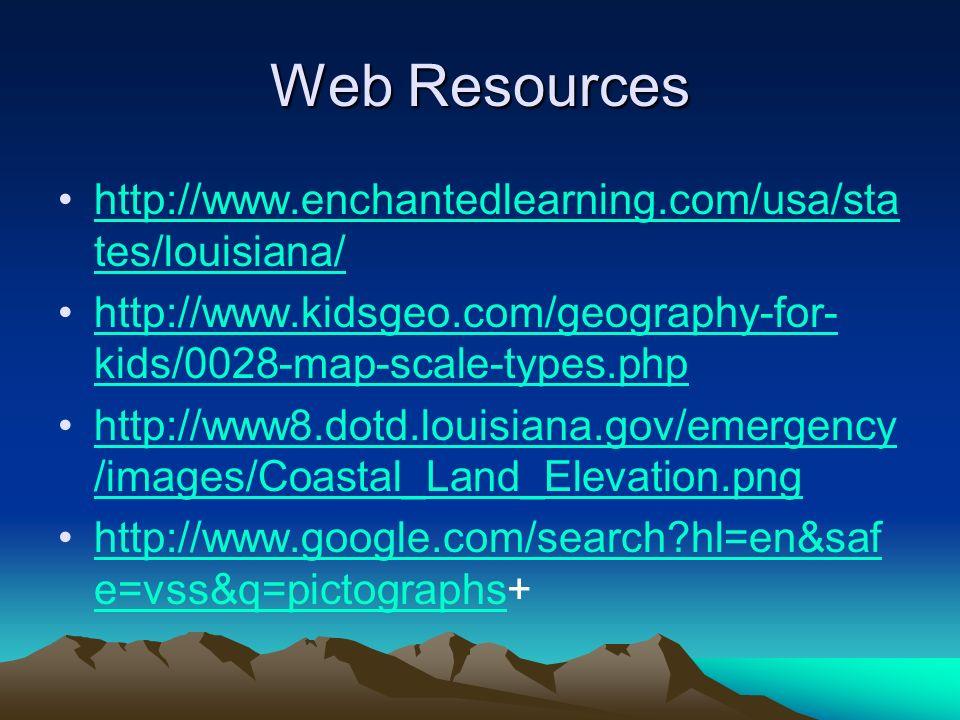 Web Resources http://www.enchantedlearning.com/usa/sta tes/louisiana/http://www.enchantedlearning.com/usa/sta tes/louisiana/ http://www.kidsgeo.com/geography-for- kids/0028-map-scale-types.phphttp://www.kidsgeo.com/geography-for- kids/0028-map-scale-types.php http://www8.dotd.louisiana.gov/emergency /images/Coastal_Land_Elevation.pnghttp://www8.dotd.louisiana.gov/emergency /images/Coastal_Land_Elevation.png http://www.google.com/search hl=en&saf e=vss&q=pictographs+http://www.google.com/search hl=en&saf e=vss&q=pictographs