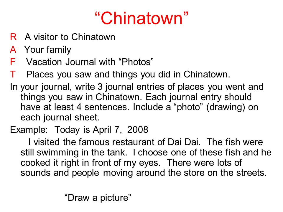 Chinatown R A visitor to Chinatown A Your family F Vacation Journal with Photos T Places you saw and things you did in Chinatown.