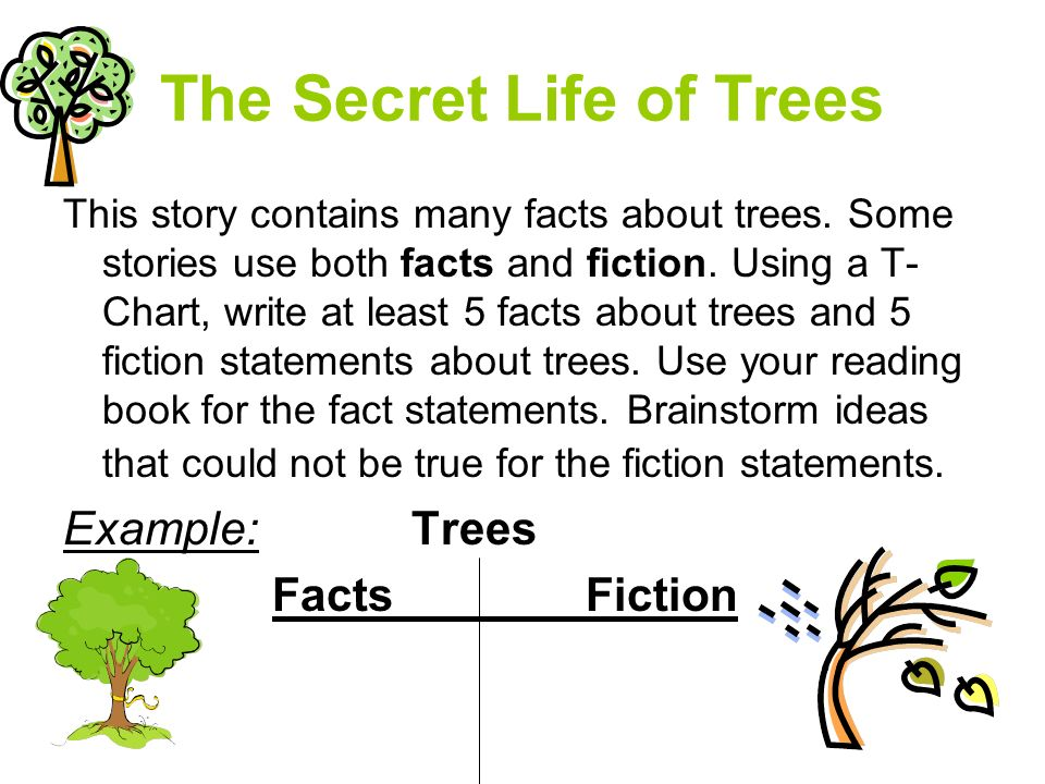 The Secret Life of Trees This story contains many facts about trees.