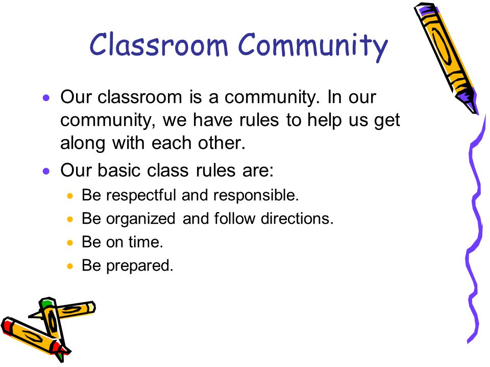 Classroom Community Our classroom is a community.
