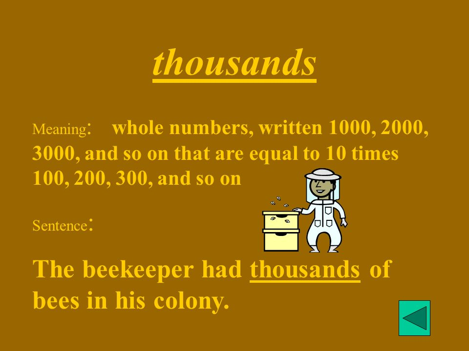 thousands Meaning : whole numbers, written 1000, 2000, 3000, and so on that are equal to 10 times 100, 200, 300, and so on Sentence : The beekeeper had thousands of bees in his colony.