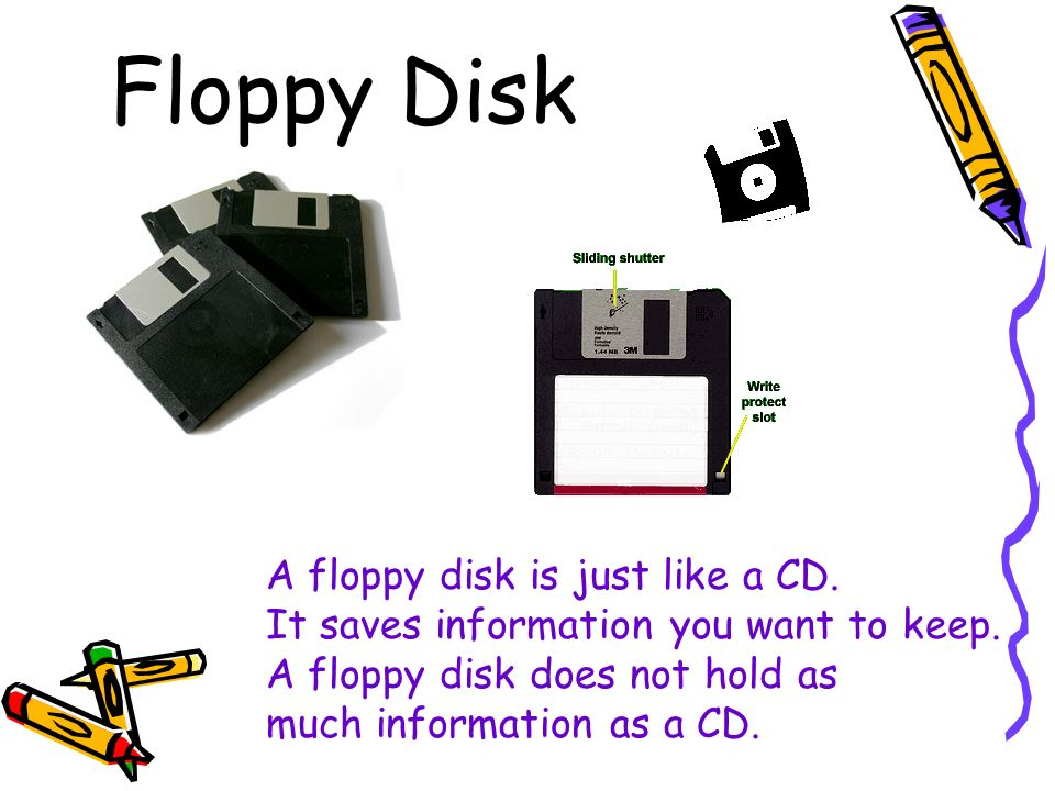 Floppy Disk A floppy disk is just like a CD. It saves information you want to keep.