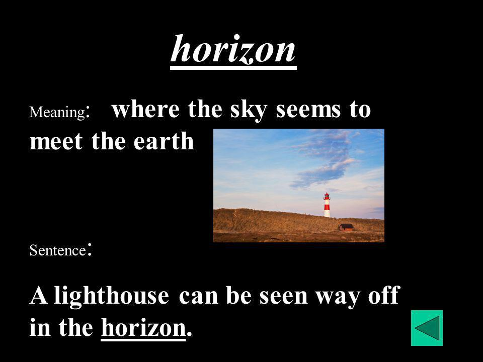 horizon Meaning : where the sky seems to meet the earth Sentence : A lighthouse can be seen way off in the horizon.