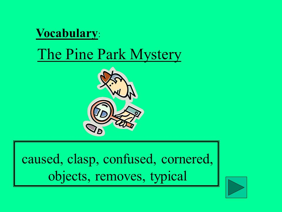 Vocabulary : The Pine Park Mystery caused, clasp, confused, cornered, objects, removes, typical