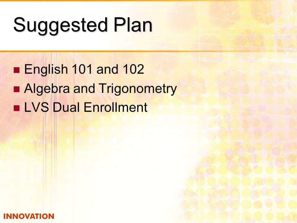 Suggested Plan English 101 and 102 Algebra and Trigonometry LVS Dual Enrollment