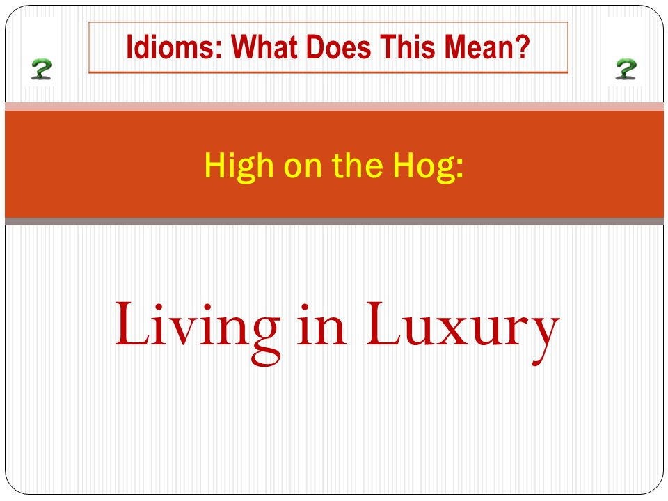 Living in Luxury High on the Hog: Idioms: What Does This Mean