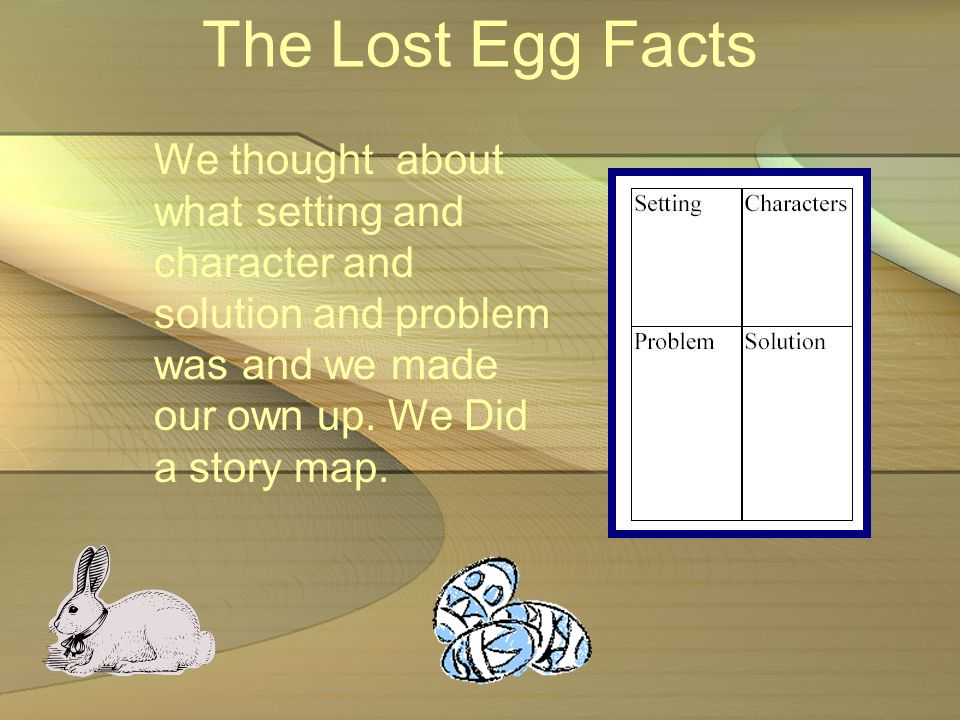 The Lost Egg Facts We thought about what setting and character and solution and problem was and we made our own up.