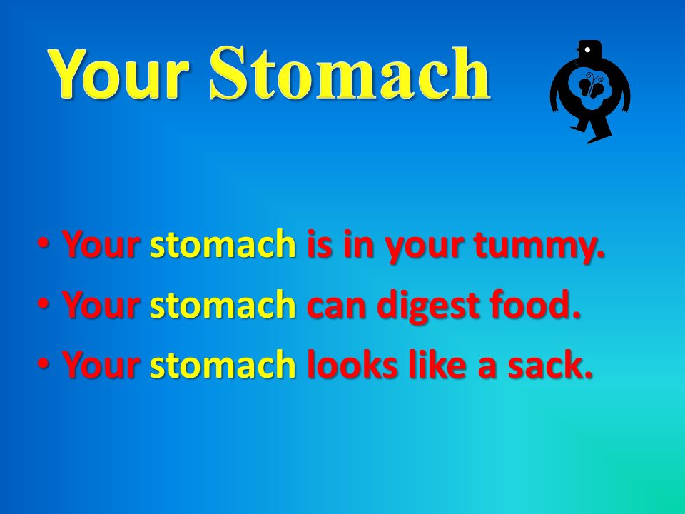 Your stomach is in your tummy. Your stomach is in your tummy. Your stomach can digest food. Your stomach can digest food. Your stomach looks like a sa