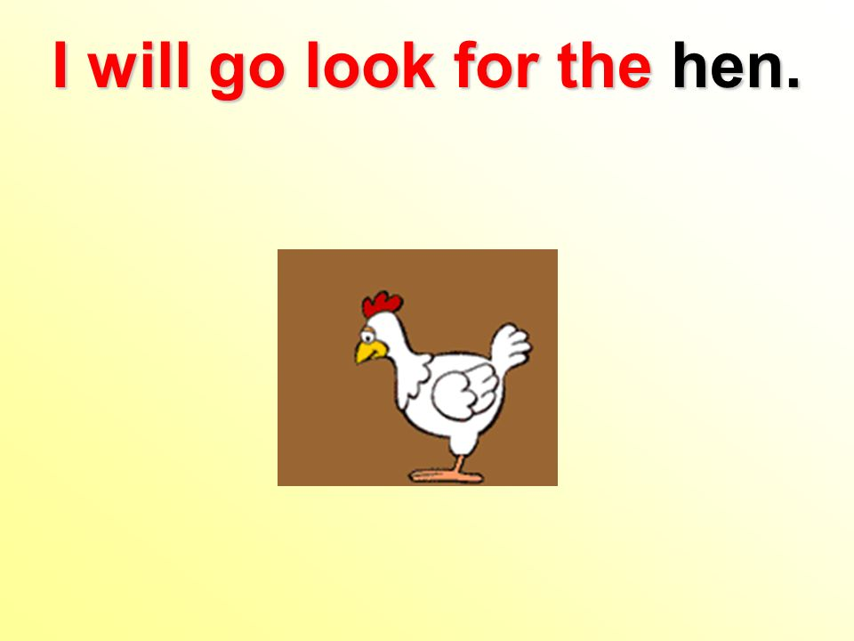 I will go look for the hen.